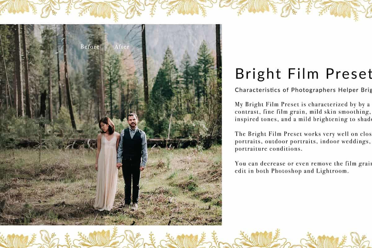 Пресет Bright Film Wedding для lightroom